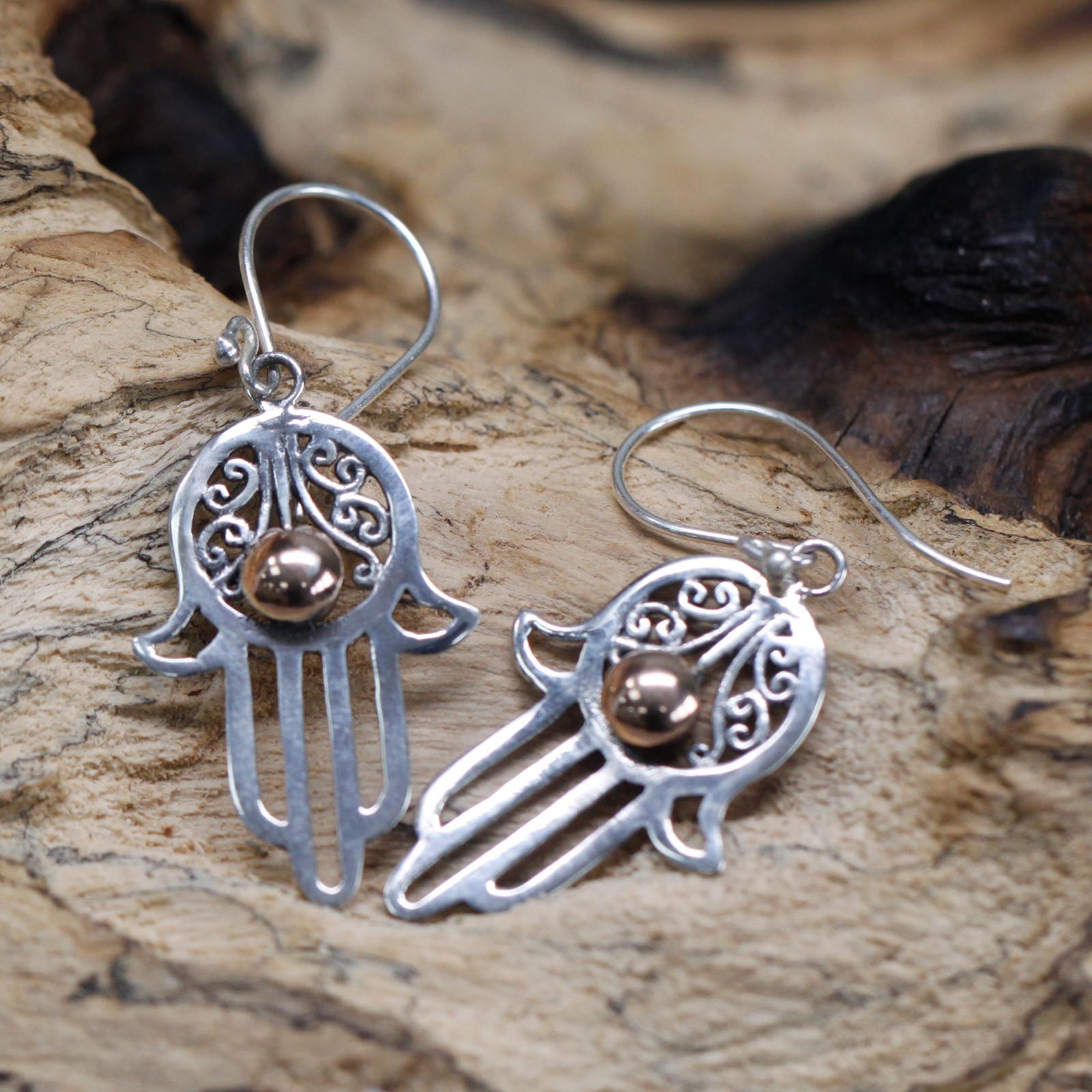Silver   Gold Earring Hamsa