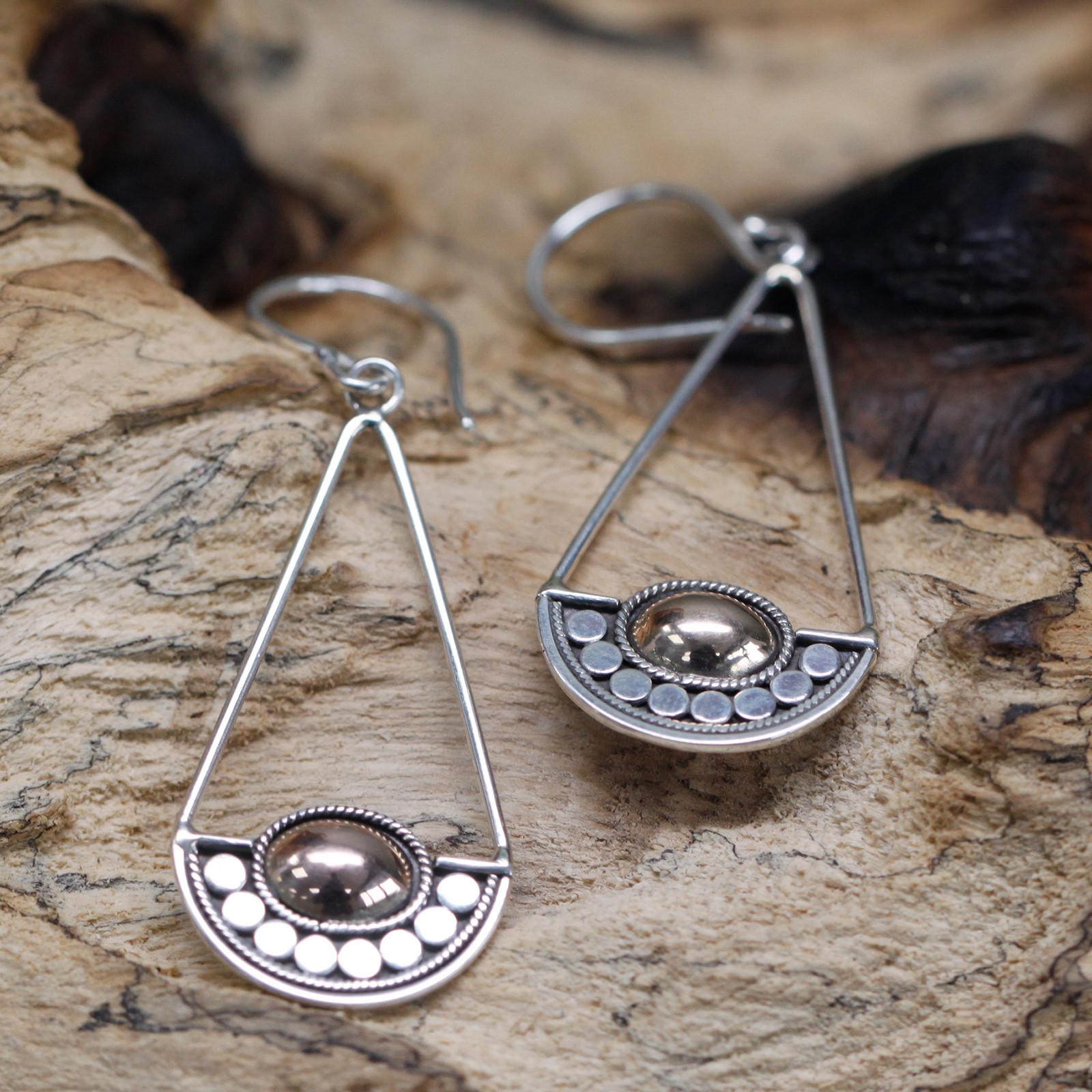 Silver   Gold Earring Luna Balance