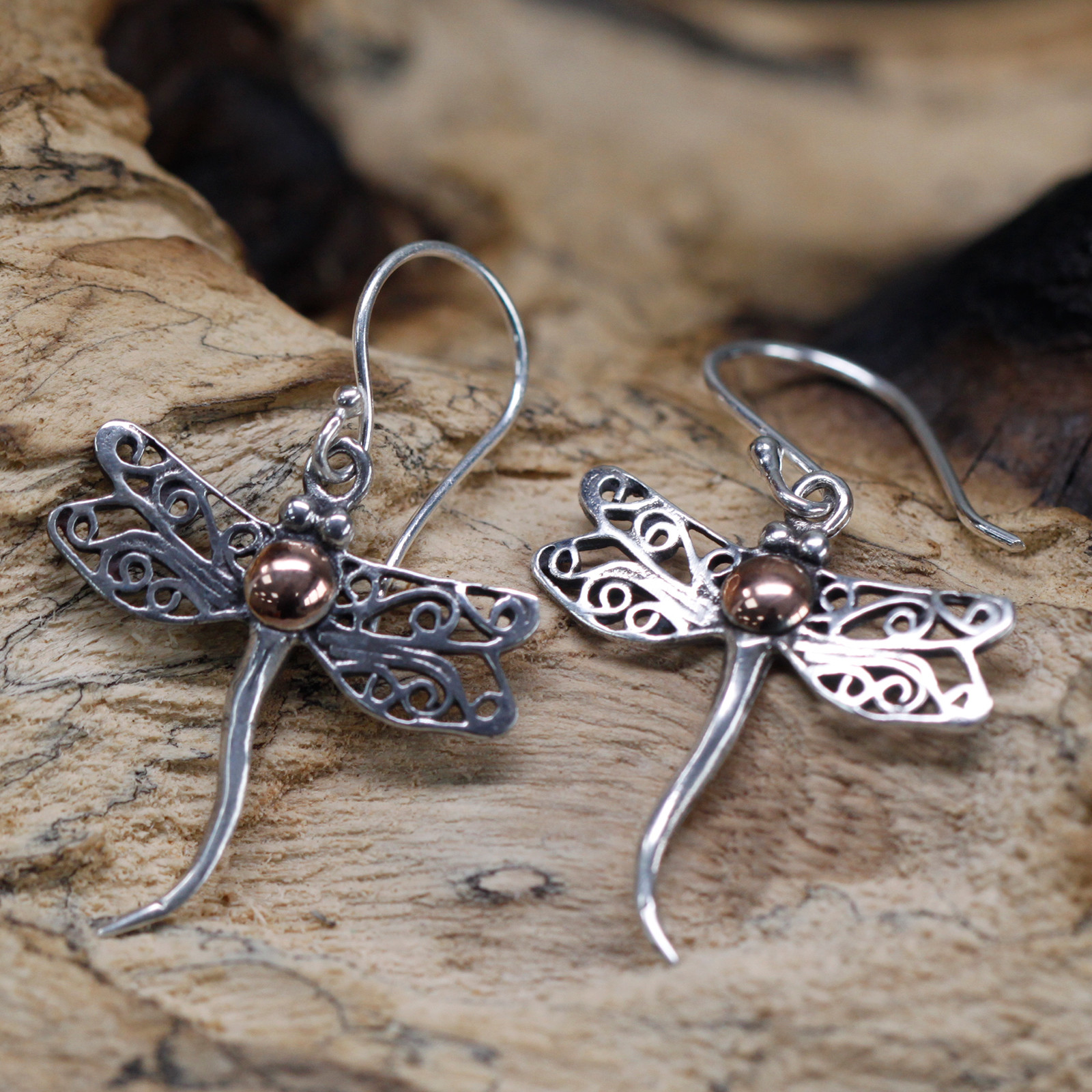 Silver   Gold Earring Dragonflies