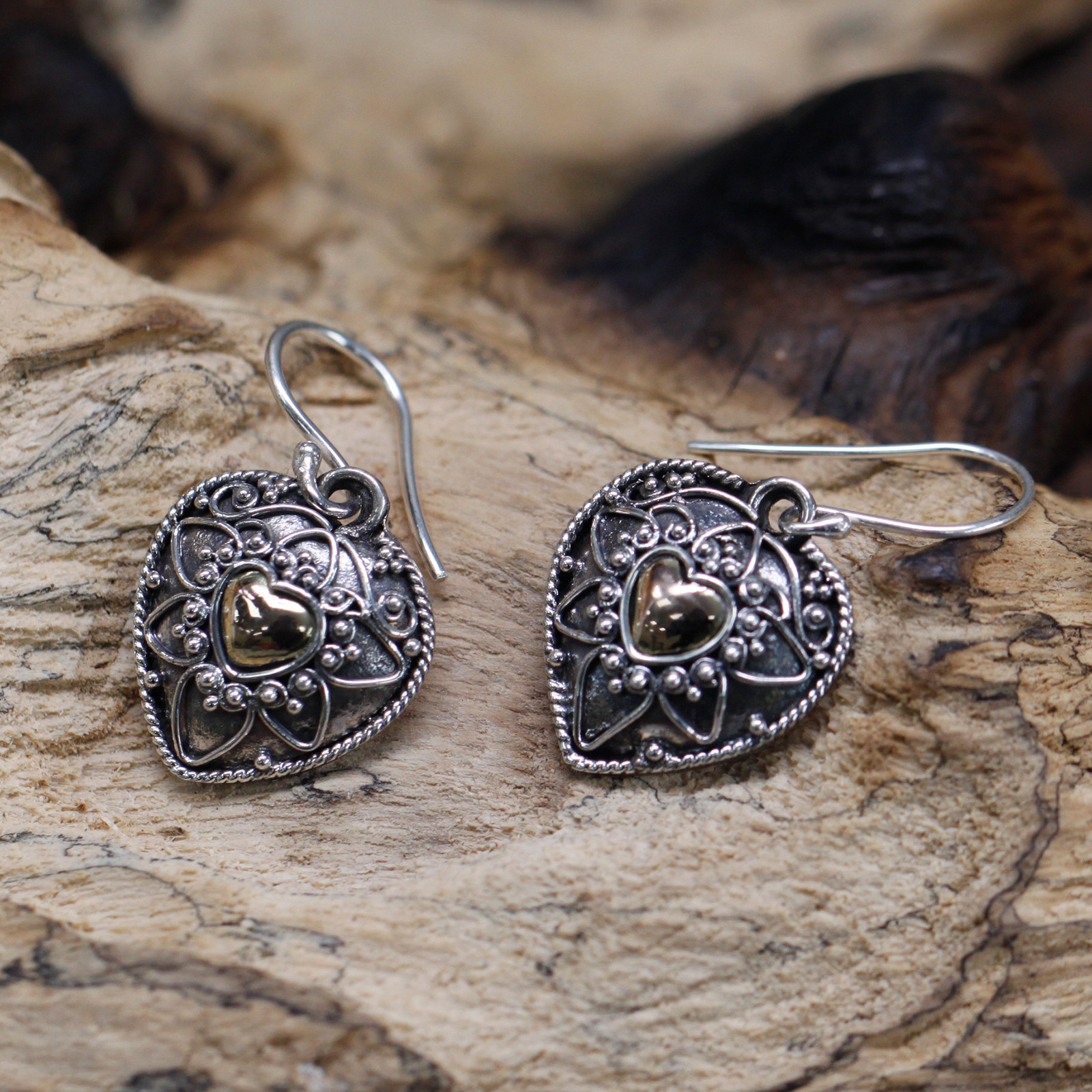 Silver   Gold Earring Mandala Hearts