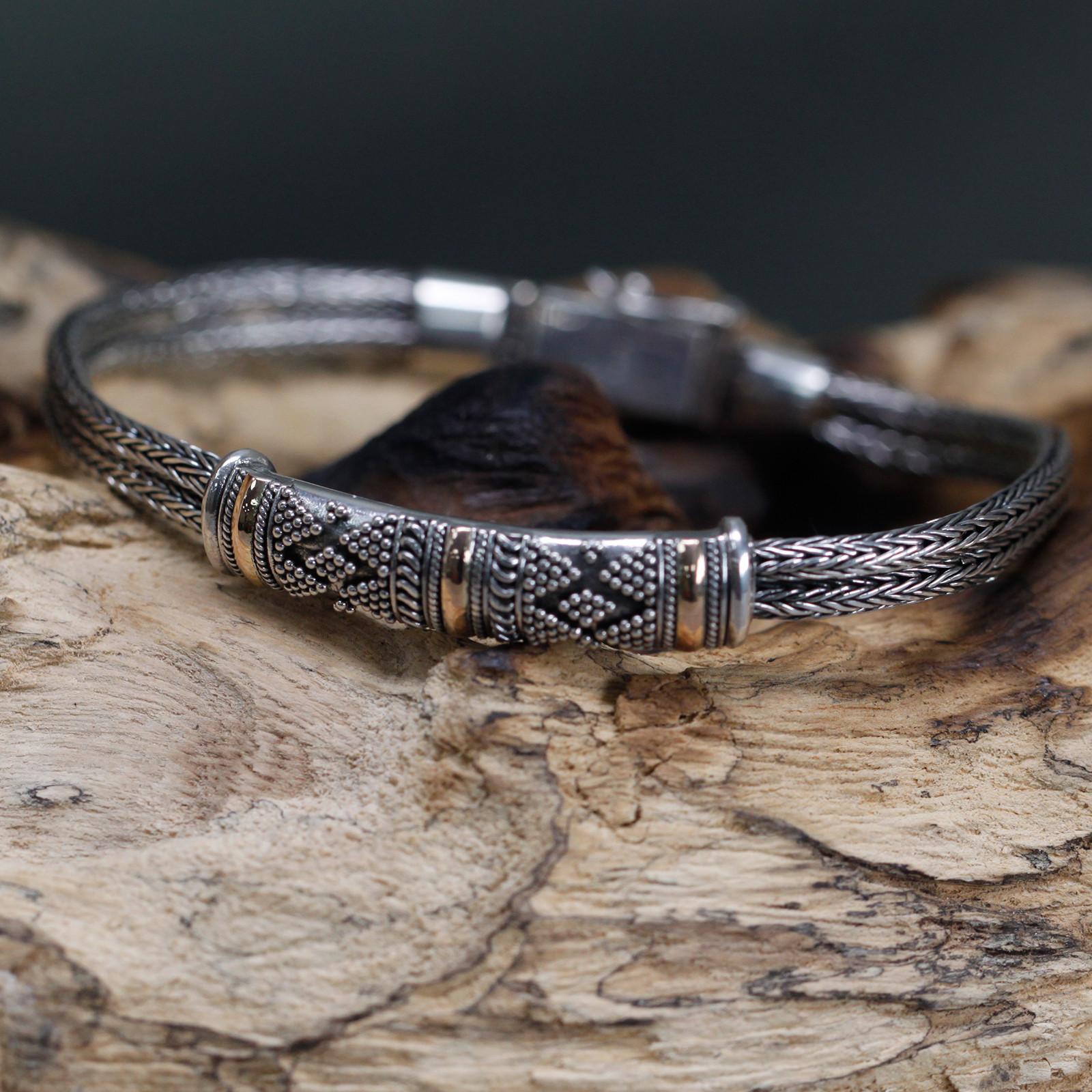 Silver   Gold Bracelet Unisex Single Chain