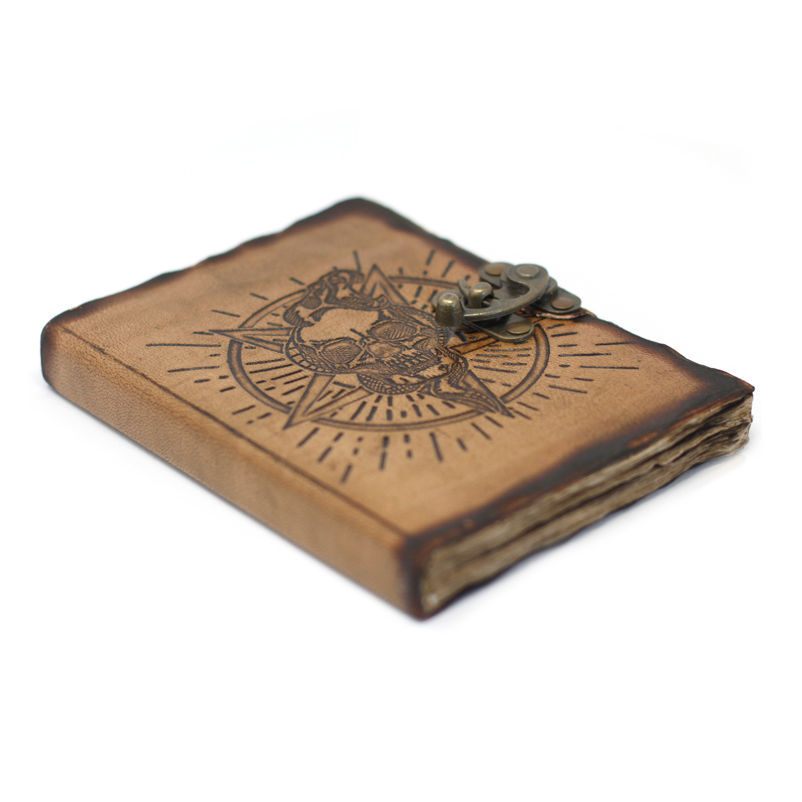 Leather Pentagon   Skull with Burns Detail Notebook 7x5
