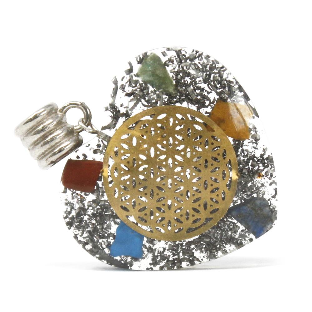 Orgonite Power Pendant 7 Stone Chakra Heart