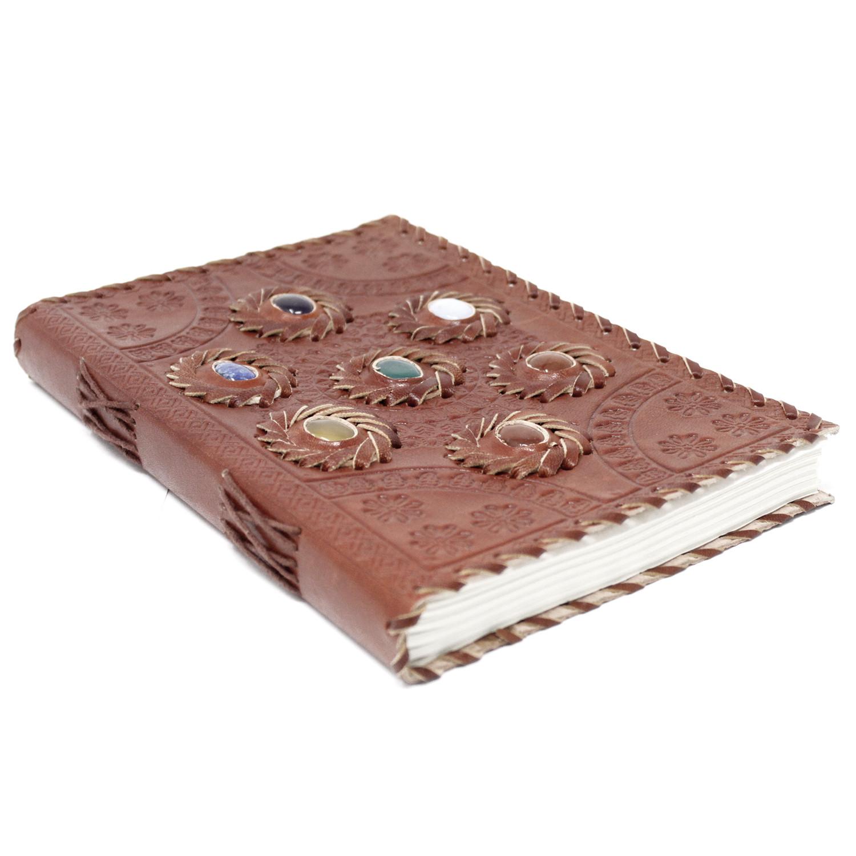 Leather Chakra Stone Notebook 6x9