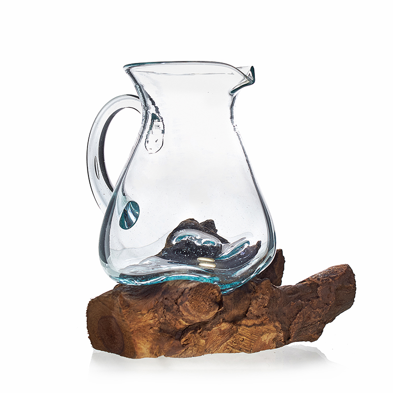 Molten Glass on WoodWater Jug