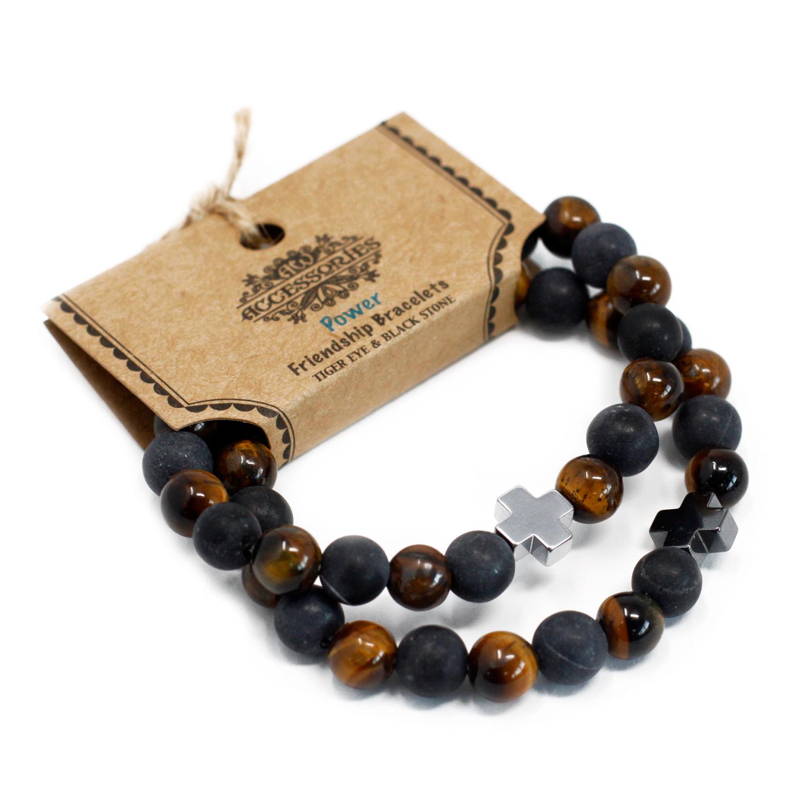 Set of 2 Gemstones Friendship Bracelets Power Tiger Eye   Black Stone