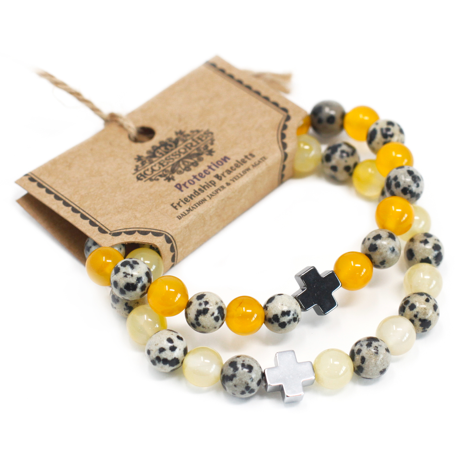 Set of 2 Gemstones Friendship Bracelets Protection Dalmation Jasper   Yellow Agate