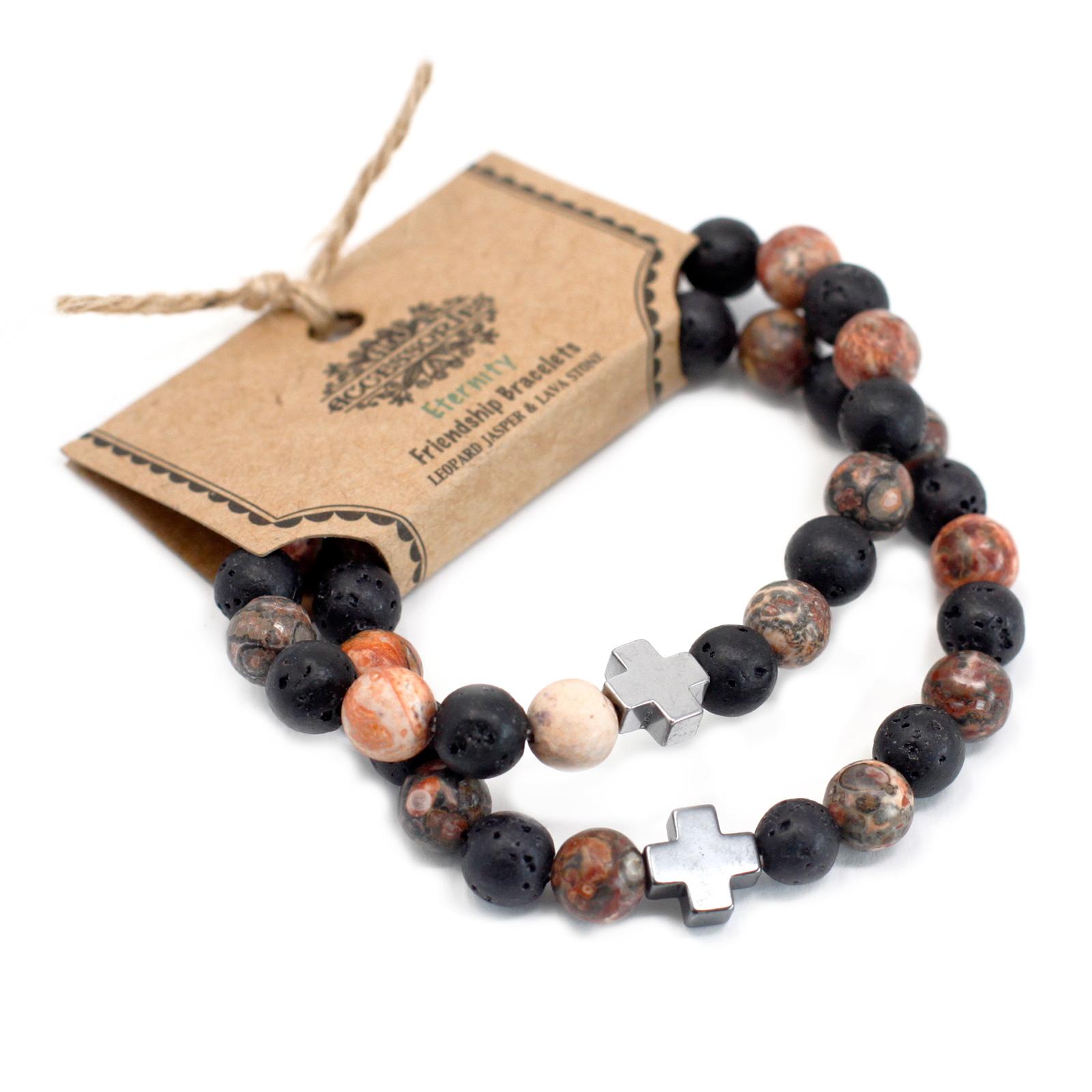 Set of 2 Gemstones Friendship Bracelets Ethernity Leopard Skin Jasper   Lava Stone