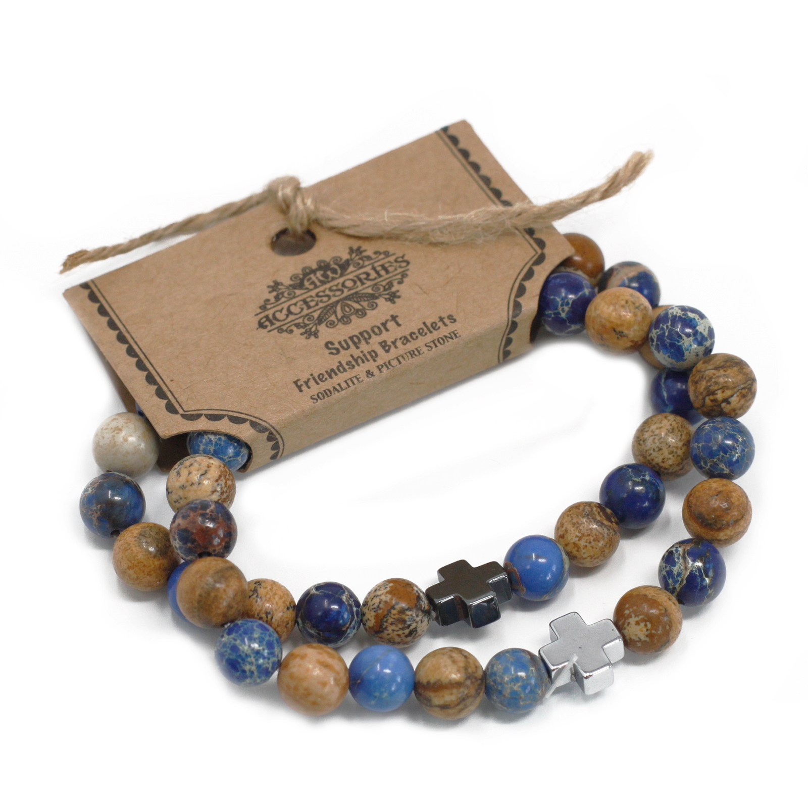 Set of 2 Gemstones Friendship Bracelets Support Sodalite   Picturestone