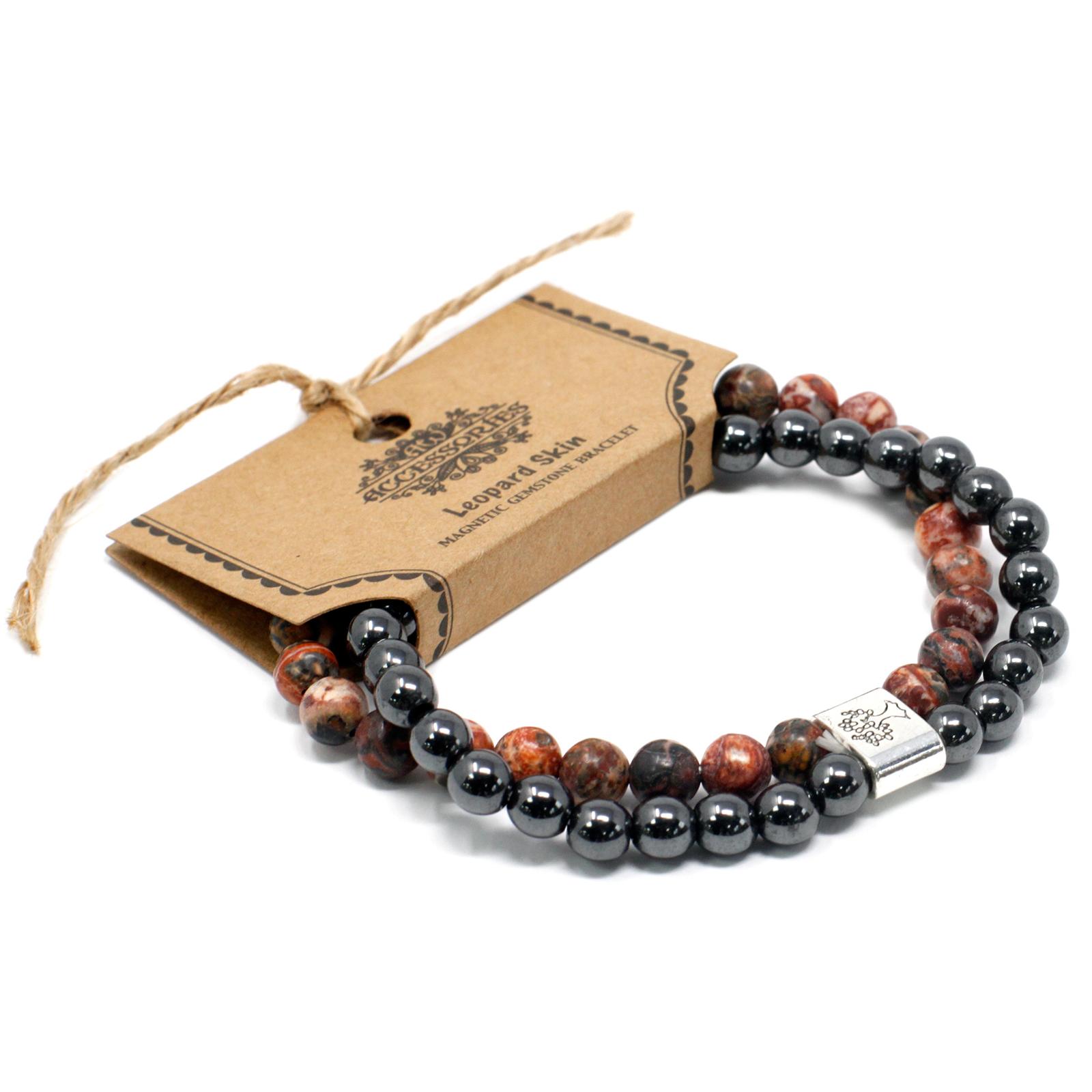 Magnetic Gemstone Bracelet Leopard Skin