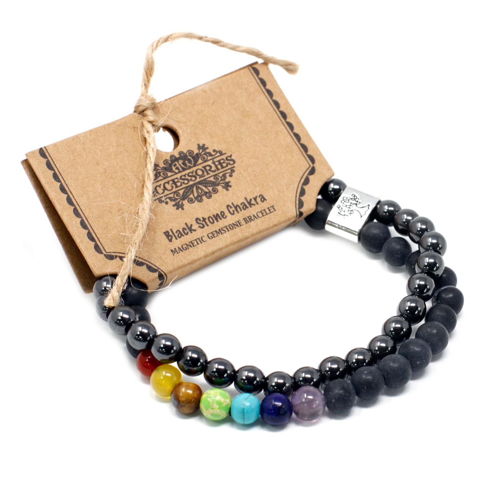 Magnetic Gemstone Bracelet Black Stone Chakra