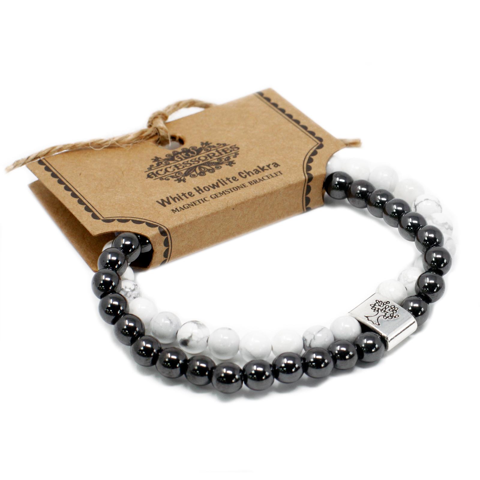 Magnetic Gemstone Bracelet White Howlite Chakra