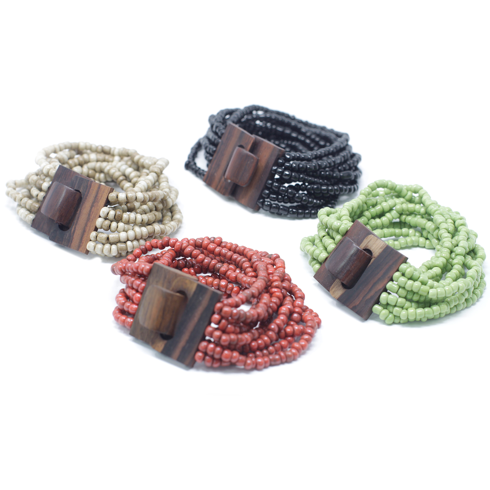 MultiBead Bangle Wooden Clasp Assorted Colours