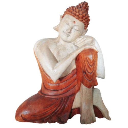 Hand Carved Buddha Statue 25cm Thinking