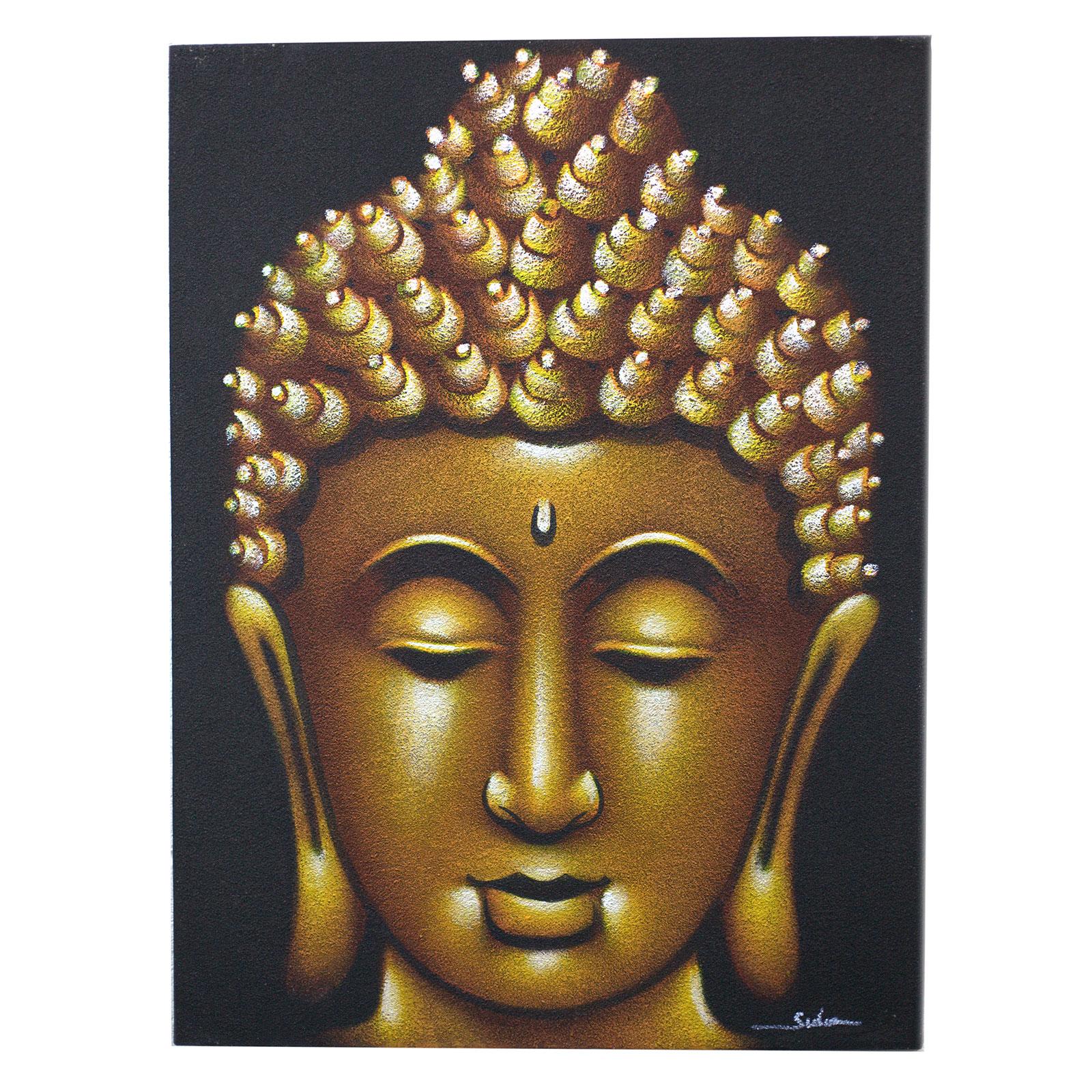 Buddha Painting Gold Sand Finish