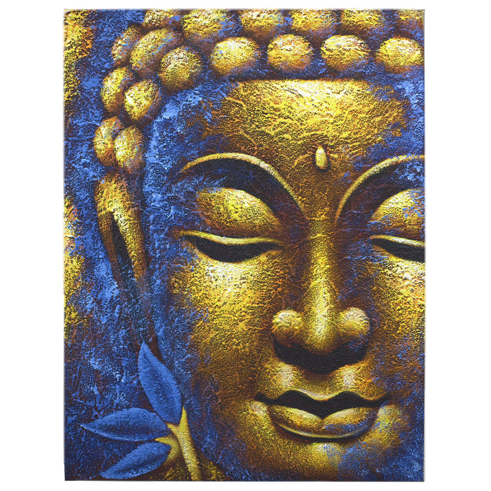 Buddha Painting Gold Face   Lotus Flower