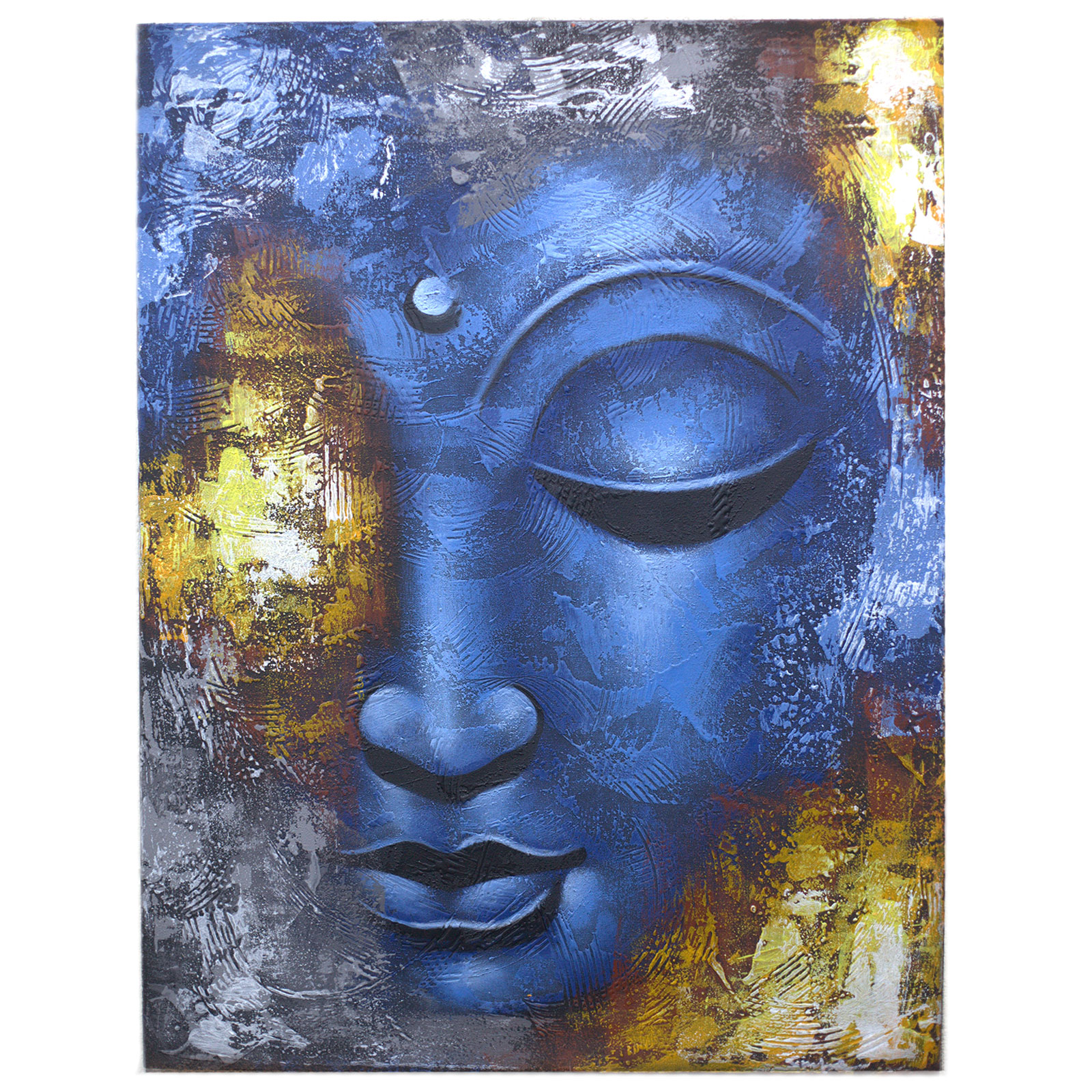 Buddha Painting Blue Face Abstract