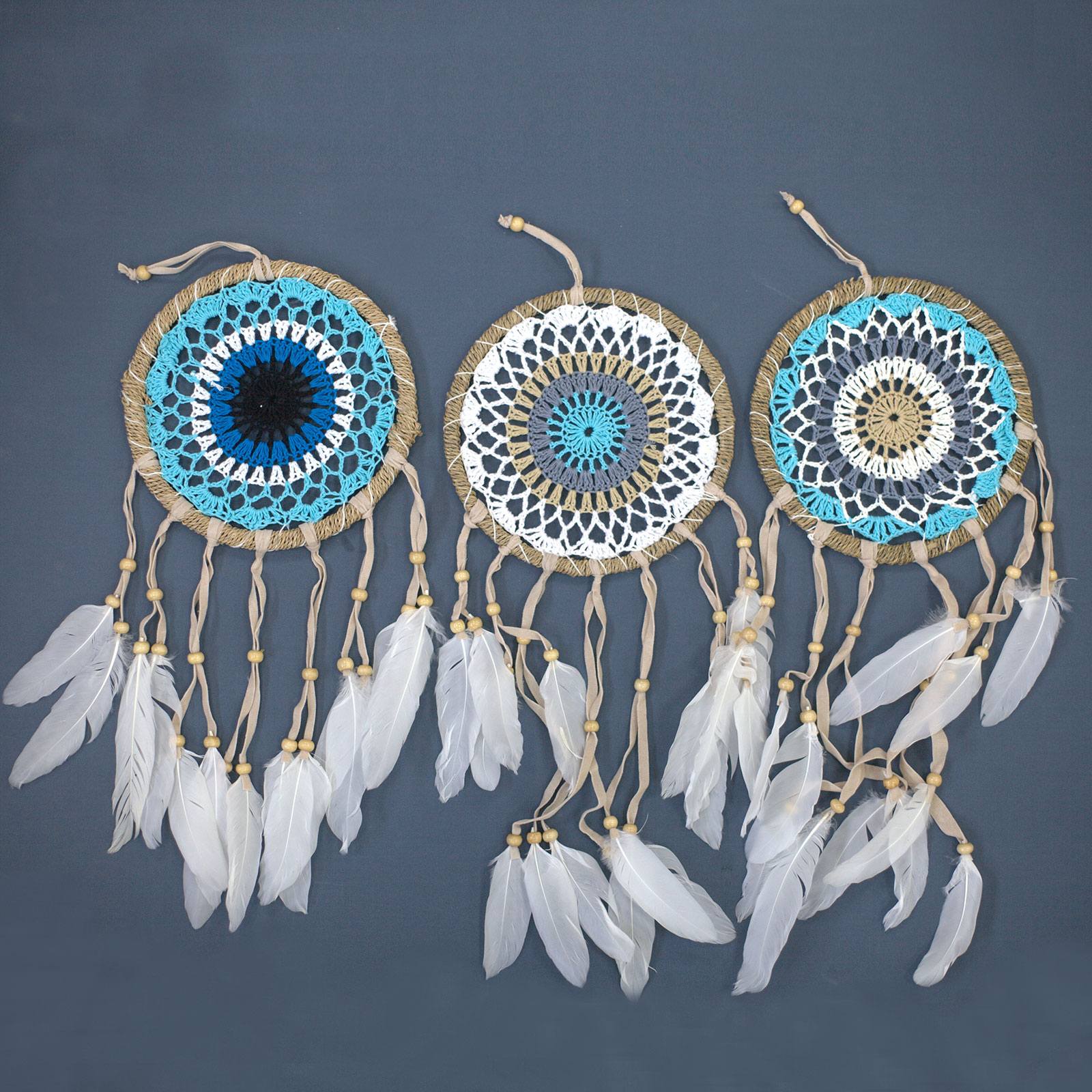 Pastel Blue Macramé Dream Catcher 16cm asst colours