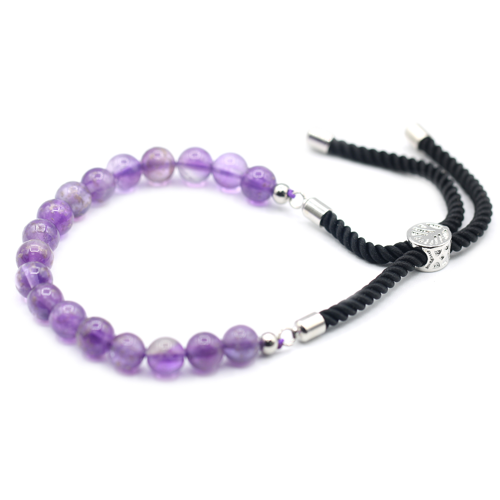 925 Silver Plated Gemstone Black String Bracelet Amethyst