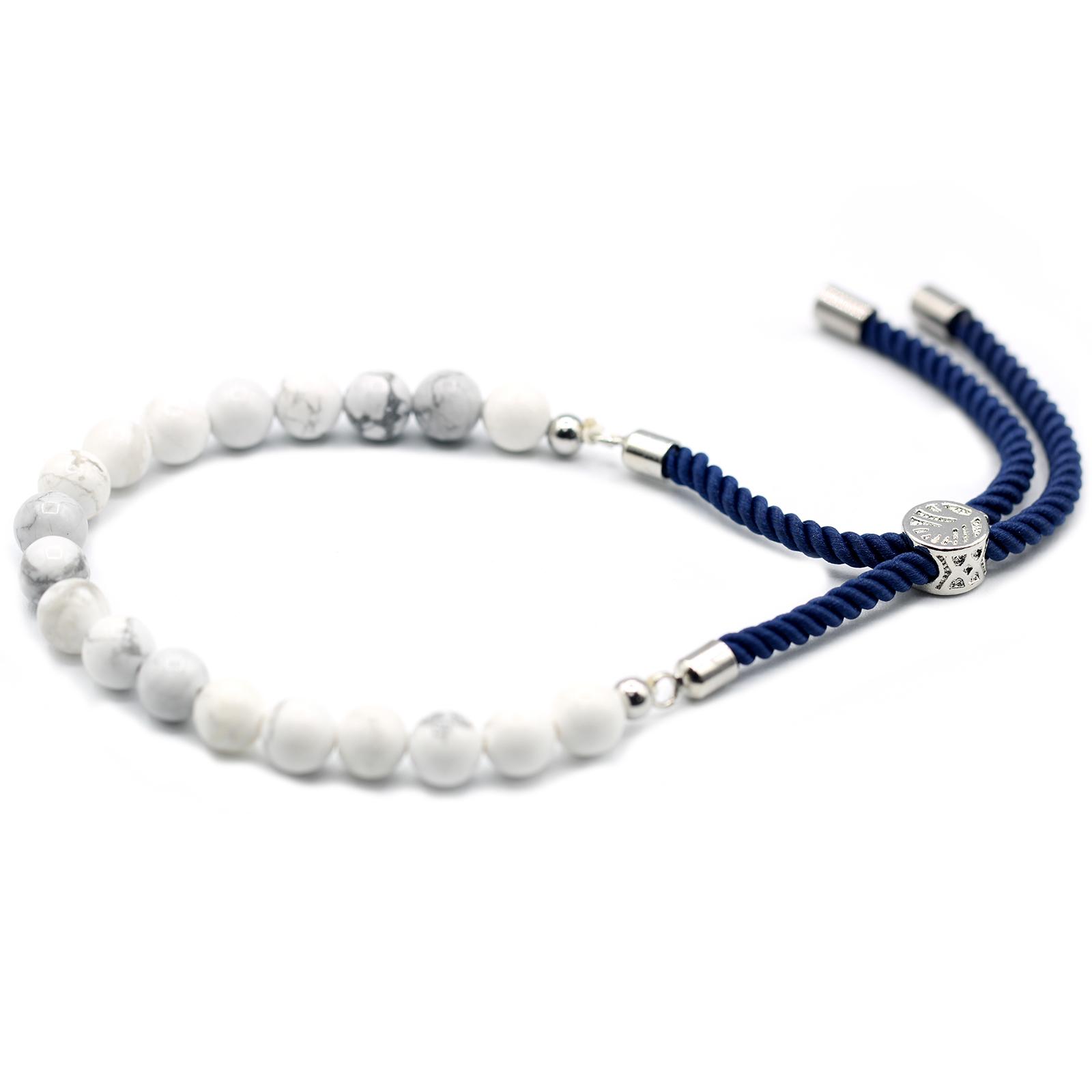 925 Silver Plated Gemstone Navy String Bracelet White Howlite