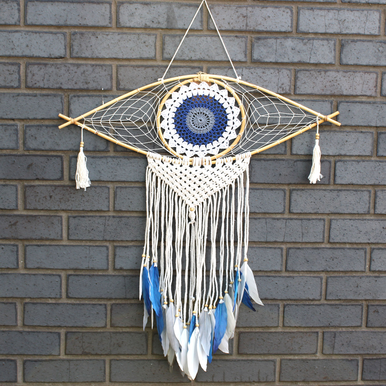 Protection Dream Catcher  Lrg Macrame Evil Eye White BlueGrey
