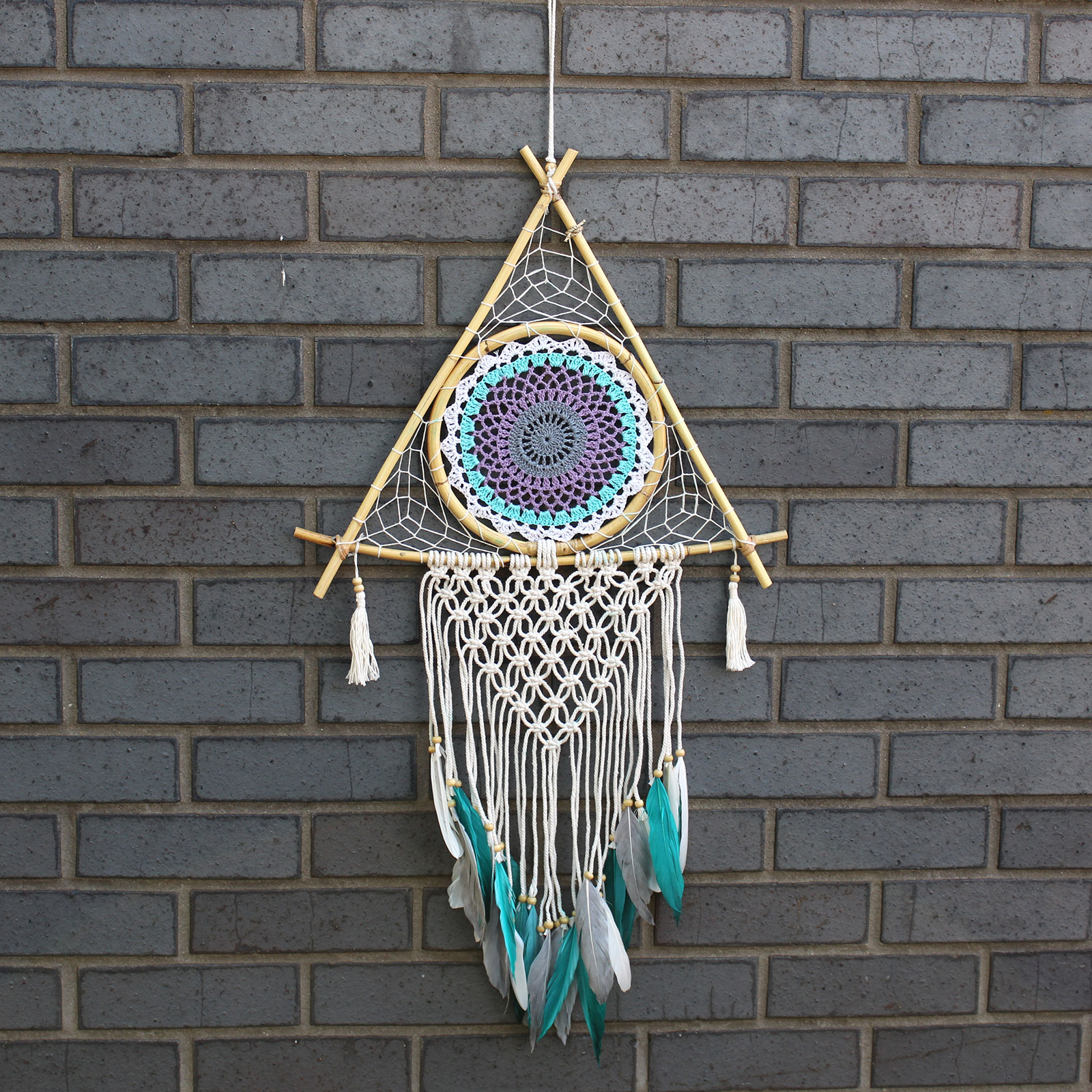 Protection Dream Catcher Lrg Macrame Pyramid WhiteTurquoise