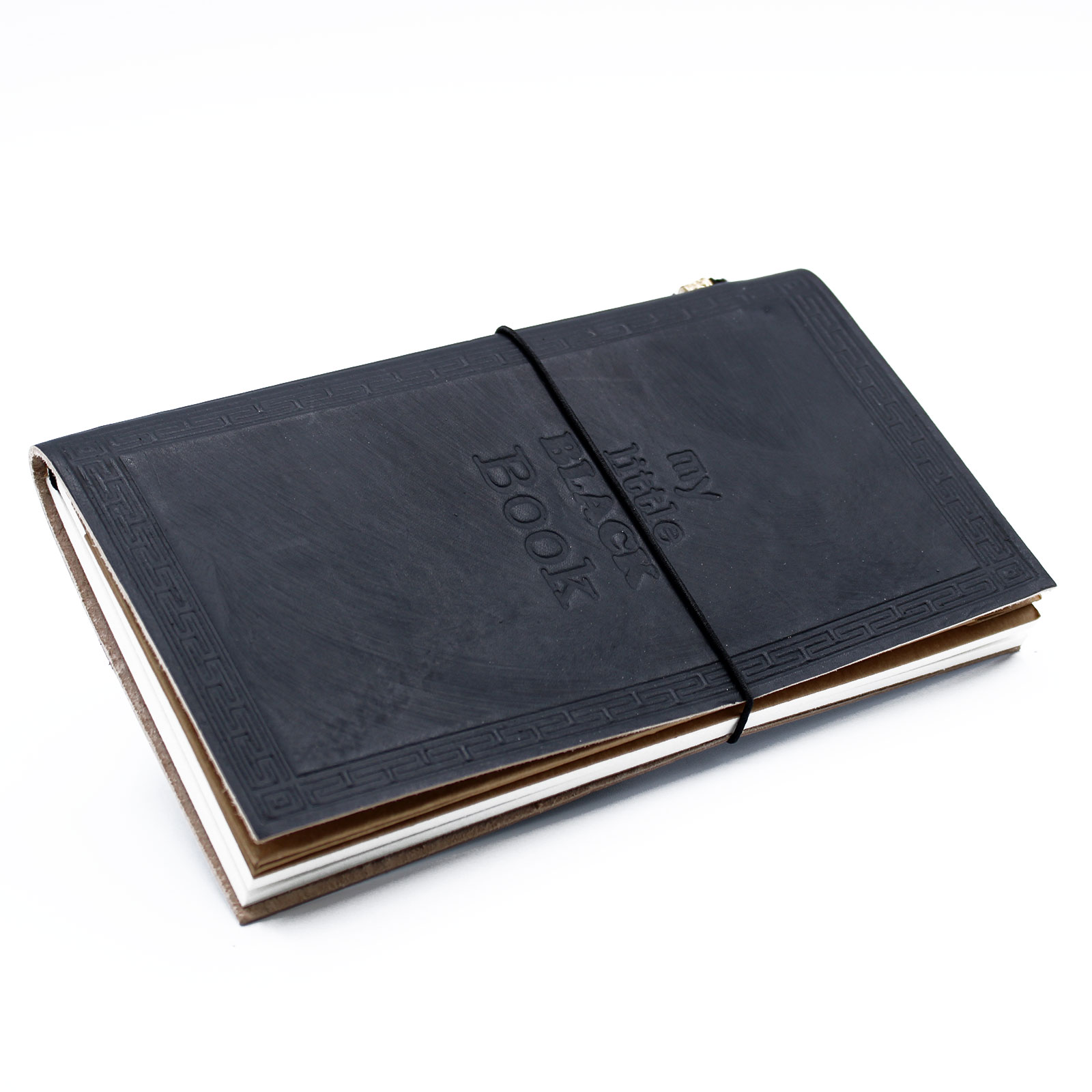 Handmade Leather Journal My Little Black Book Black 80 pages