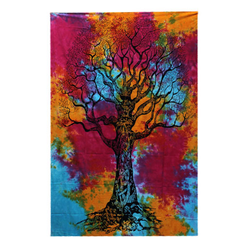 Single Cotton Bedspread Wall Hanging   Winter Tree
