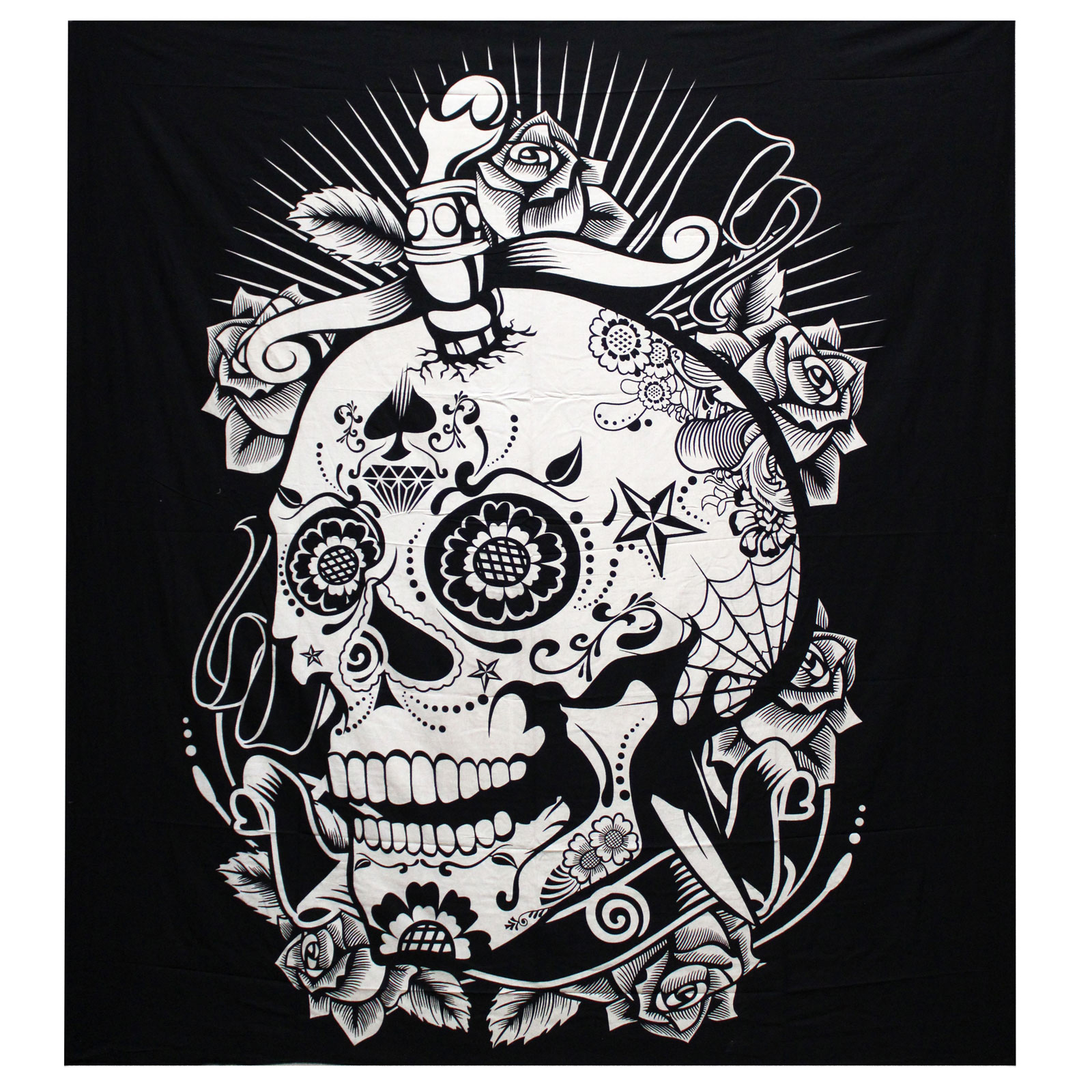 B W Double Cotton Bedspread Wall Hanging Rose Skull
