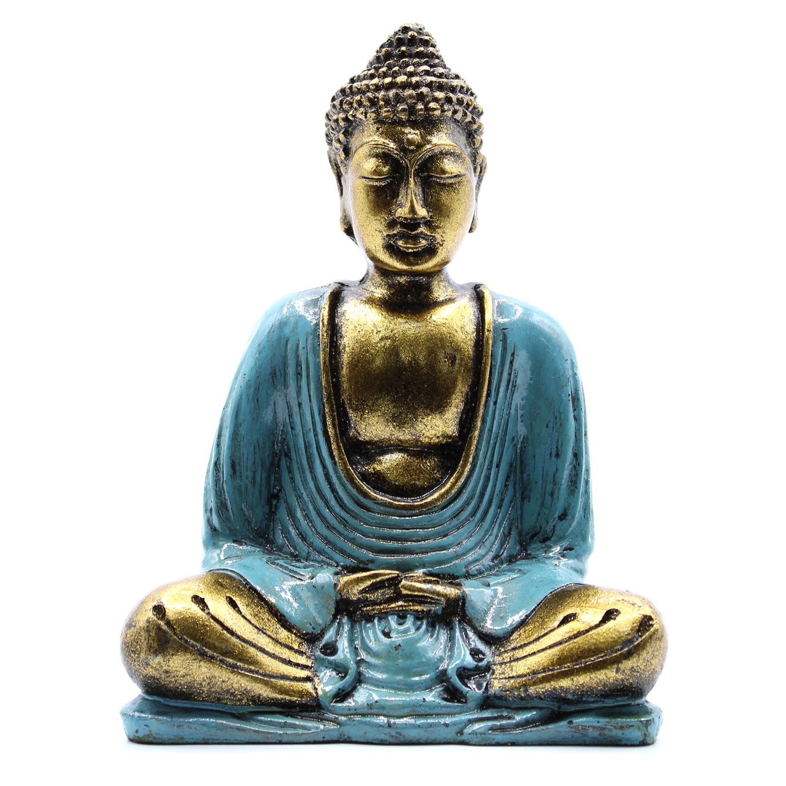 Teal   Gold Buddha Medium