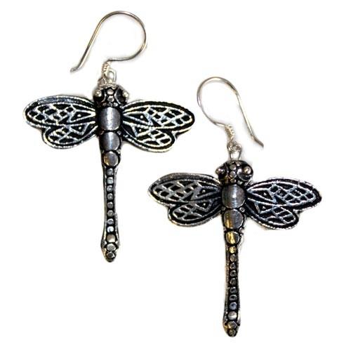 Silver Earrings Dragonflies