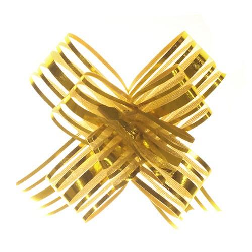 Organza Pull Bows Gold pkt 10