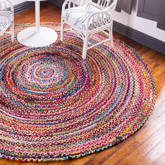Round Jute and Recycled Cotton Rugs - Ancient Wisdom Dropshipping