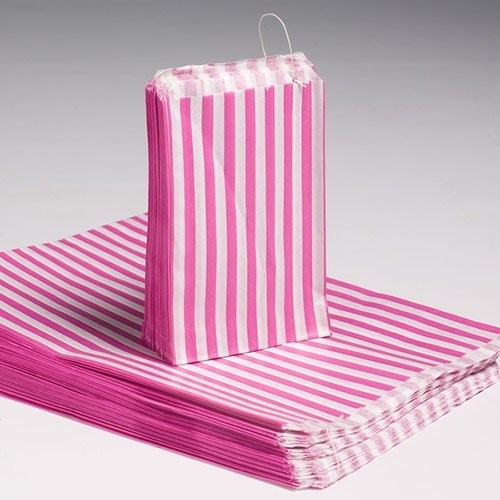 5x7 Candy Stripe Bags 1000 PINK