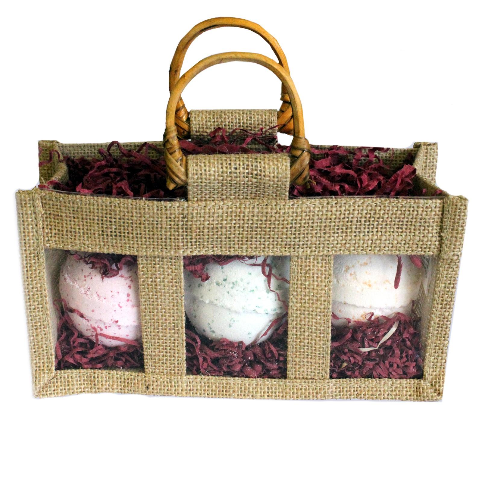 Three Jar Jute Gift Bag Natural