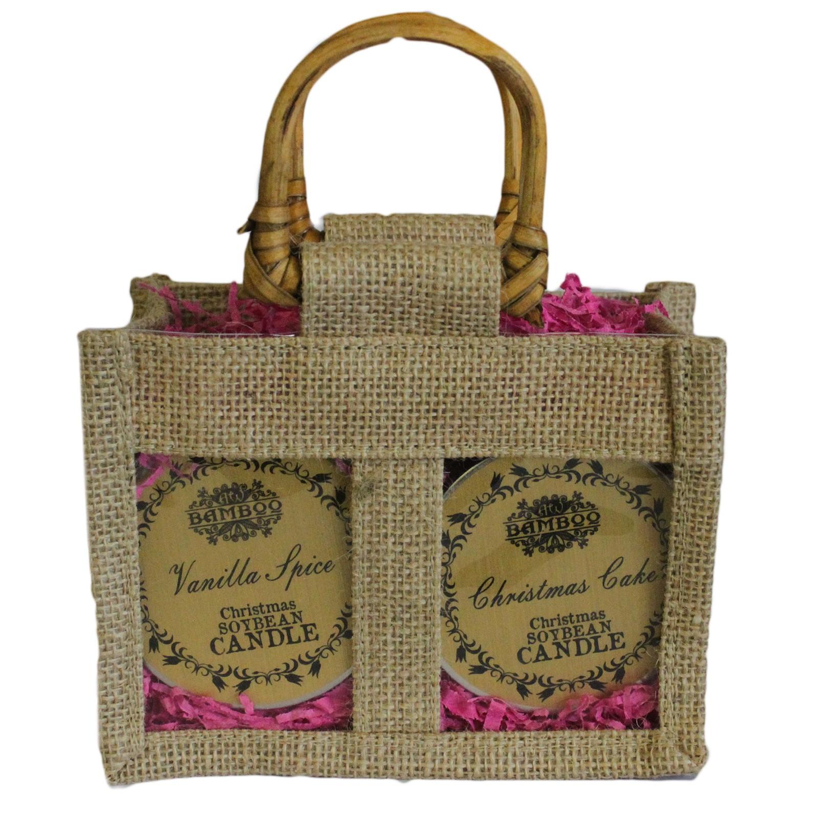 Two Jar Jute Gift Bag Natural