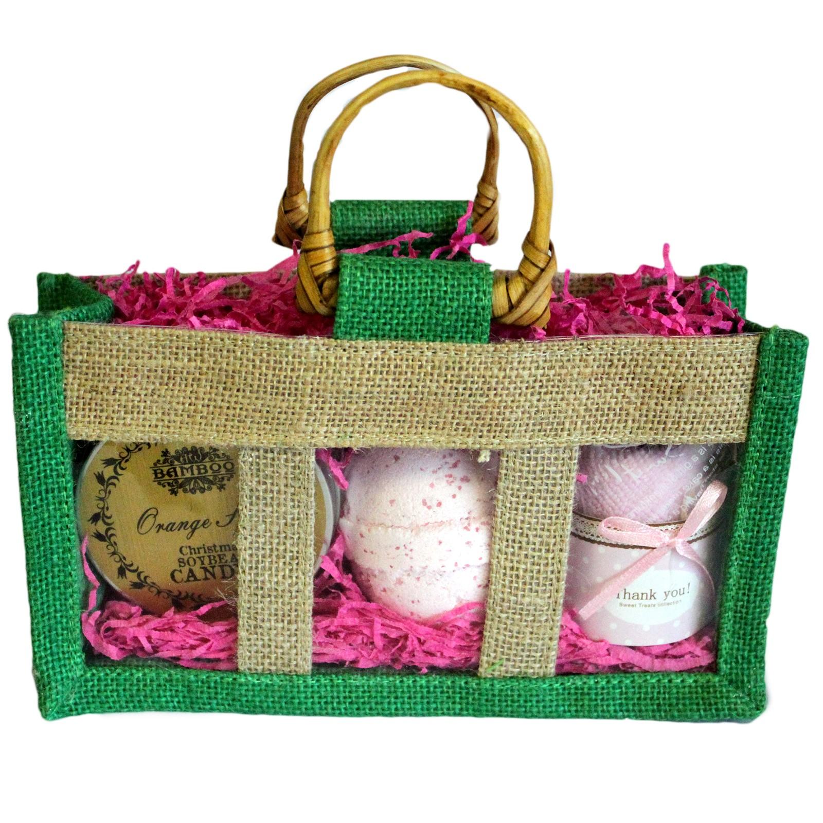 Three Jar Jute Gift Bag Green