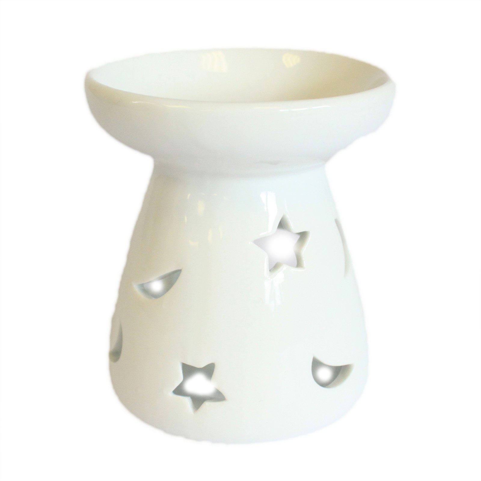 Sm Classic White Oil Burner Moon and Star