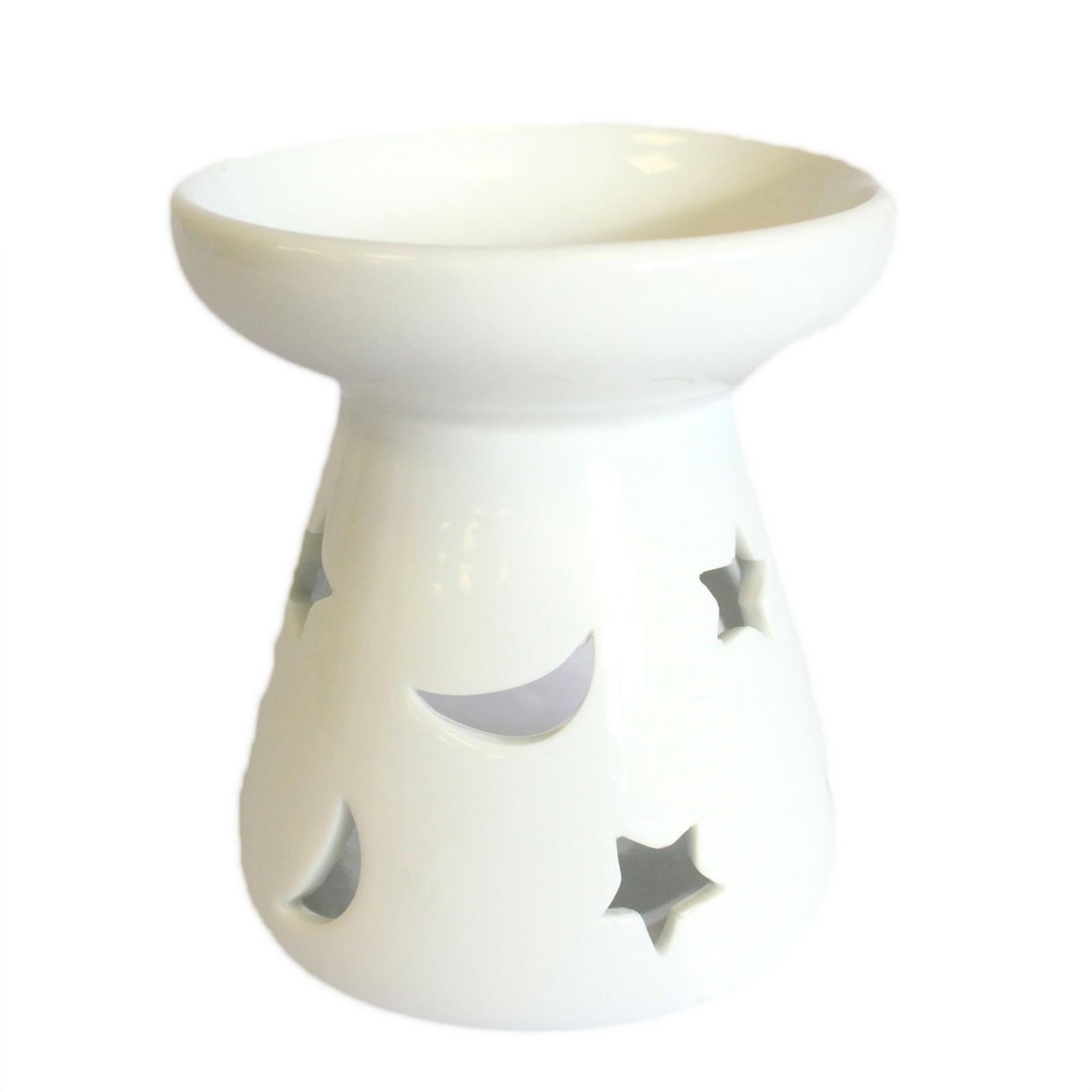 Lrg Classic White Oil Burner Moon and Star