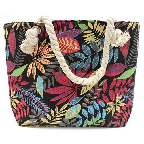 Rope Handle Bag Red And Blue Flowers