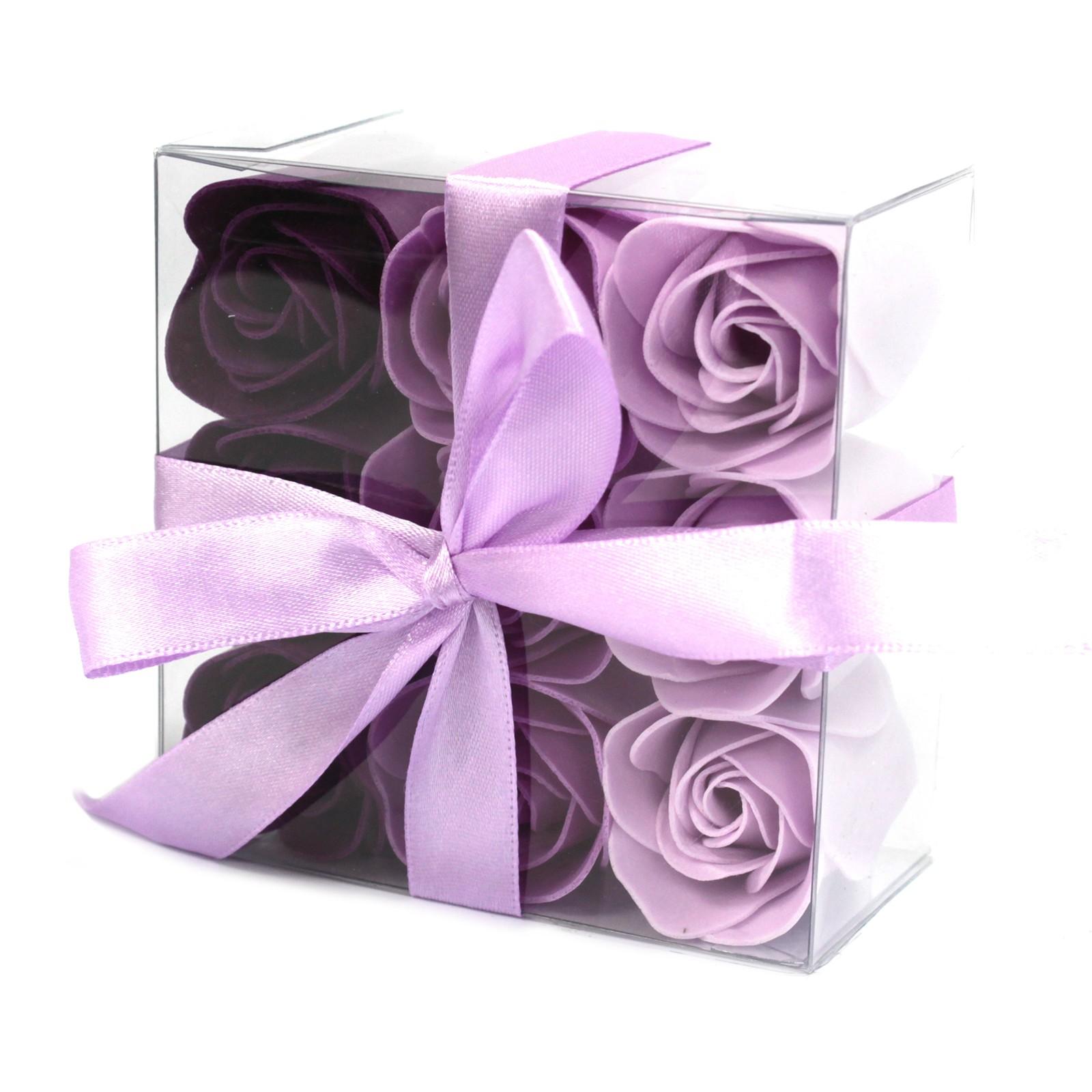 Set of 9 Soap Flower Lavender Roses