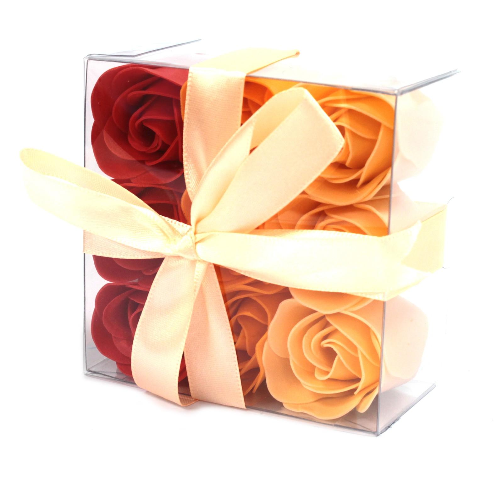Set of 9 Soap Flower Box Peach Roses