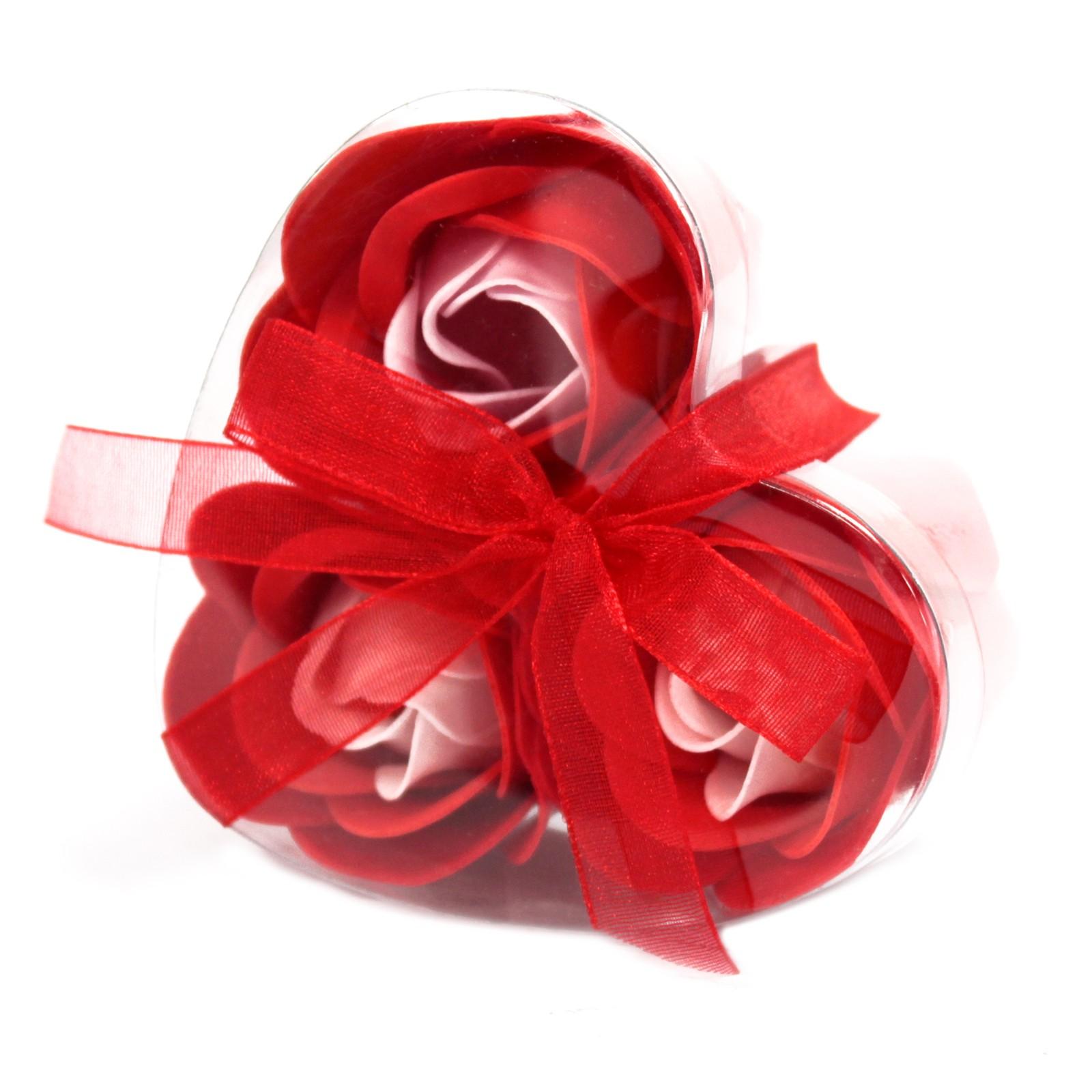 Set of 3 Soap Flower Heart Box Red Roses