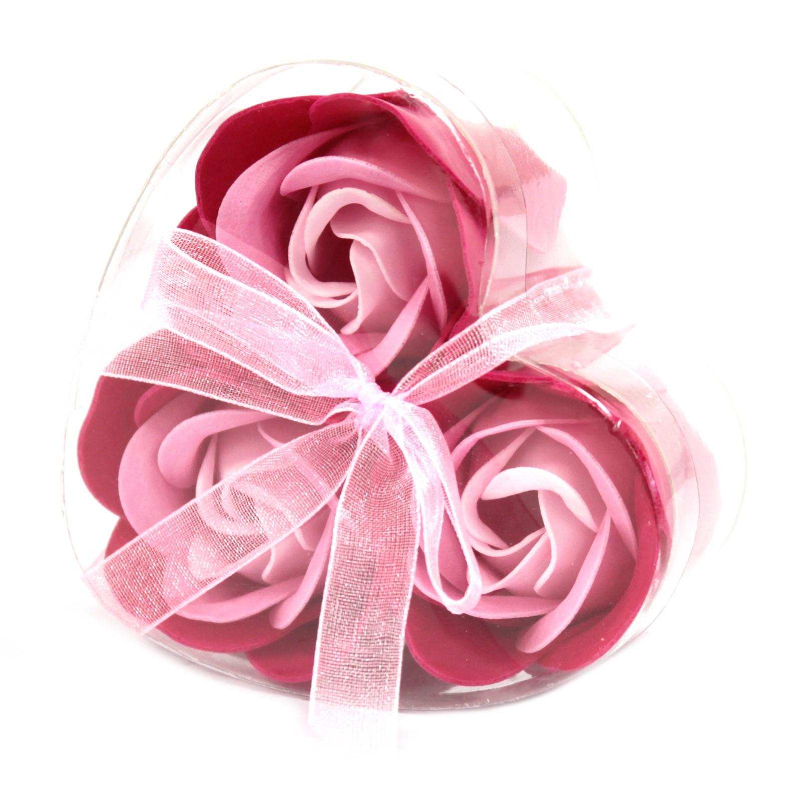 Set of 3 Soap Flower Heart Box Pink Roses