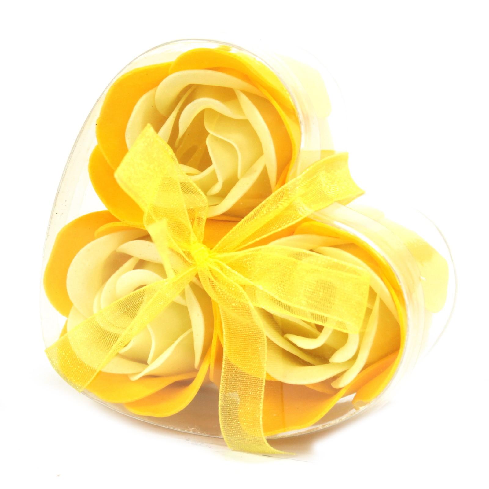 Set of 3 Soap Flower Heart Box Spring Roses