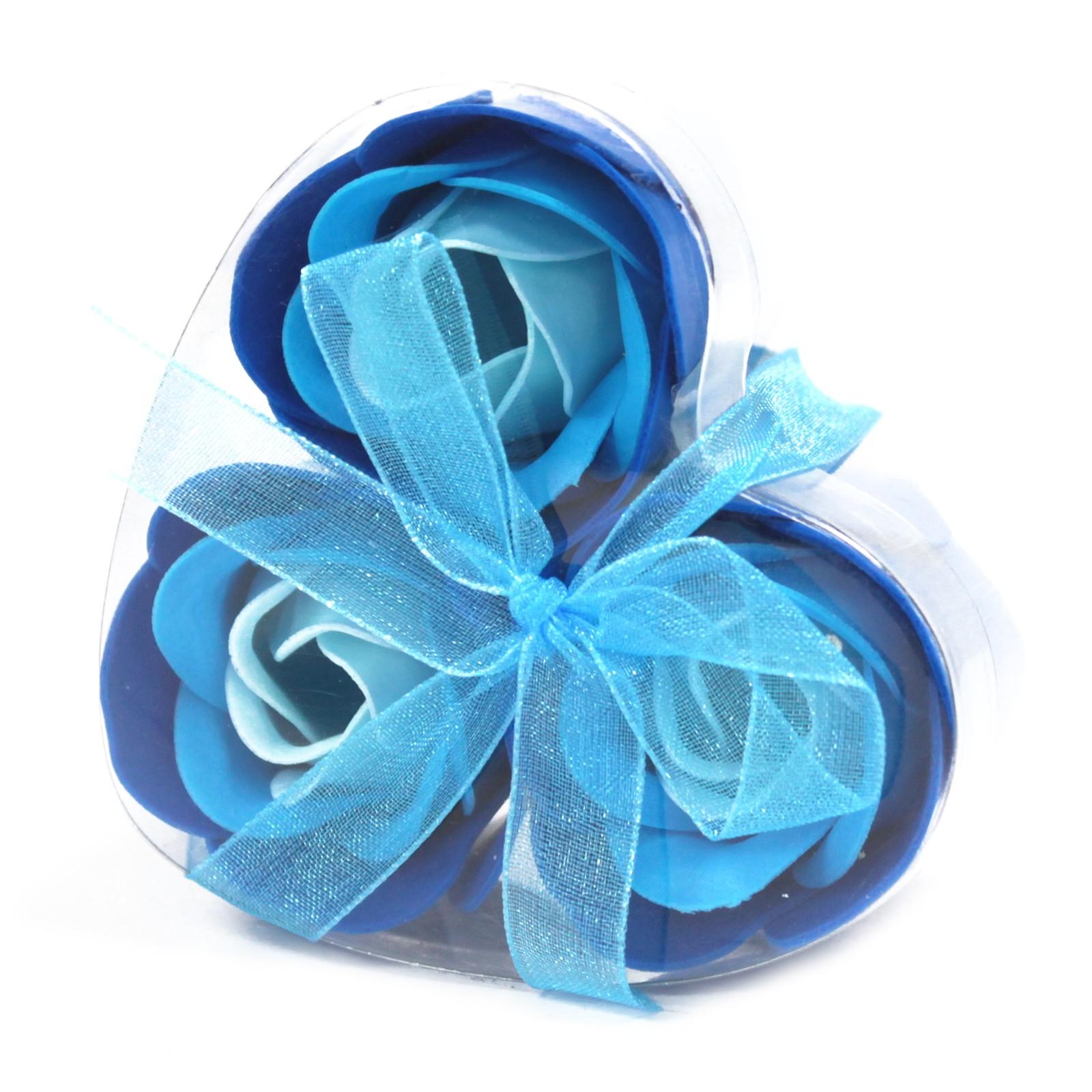 Set of 3 Soap Flower Heart Box Blue Wedding Roses