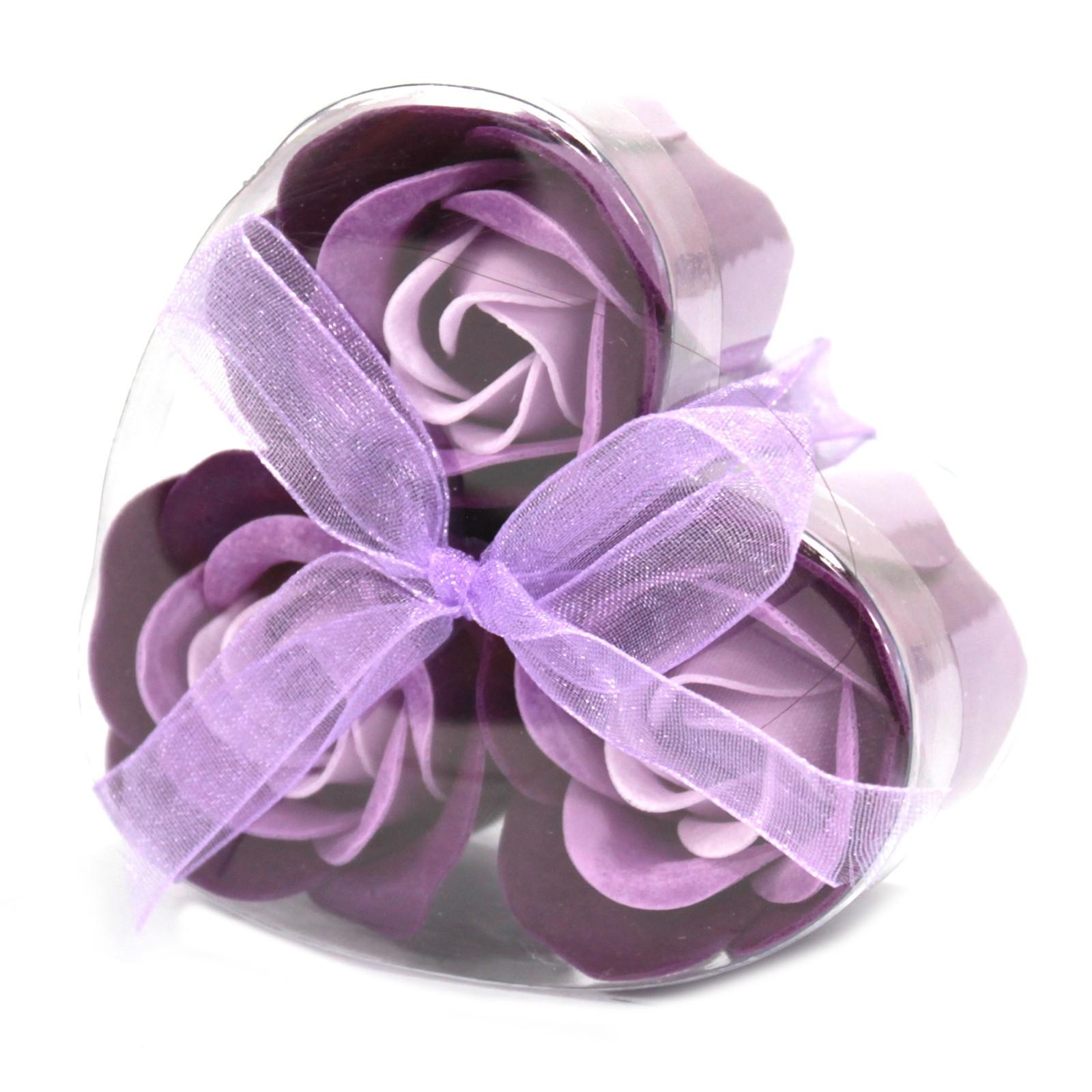 Set of 3 Soap Flower Heart Box Lavender Roses