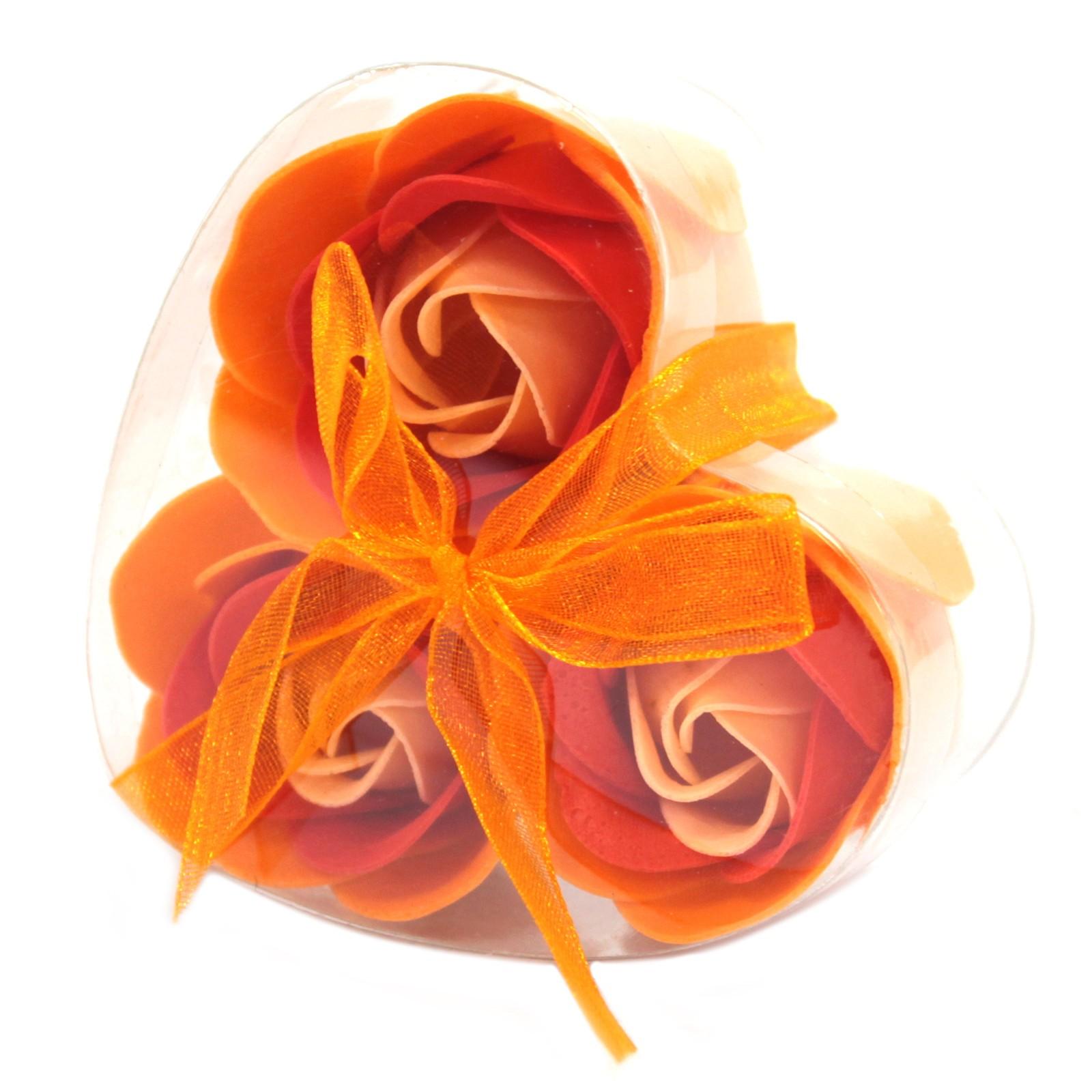 Set of 3 Soap Flower Heart Box Peach Roses