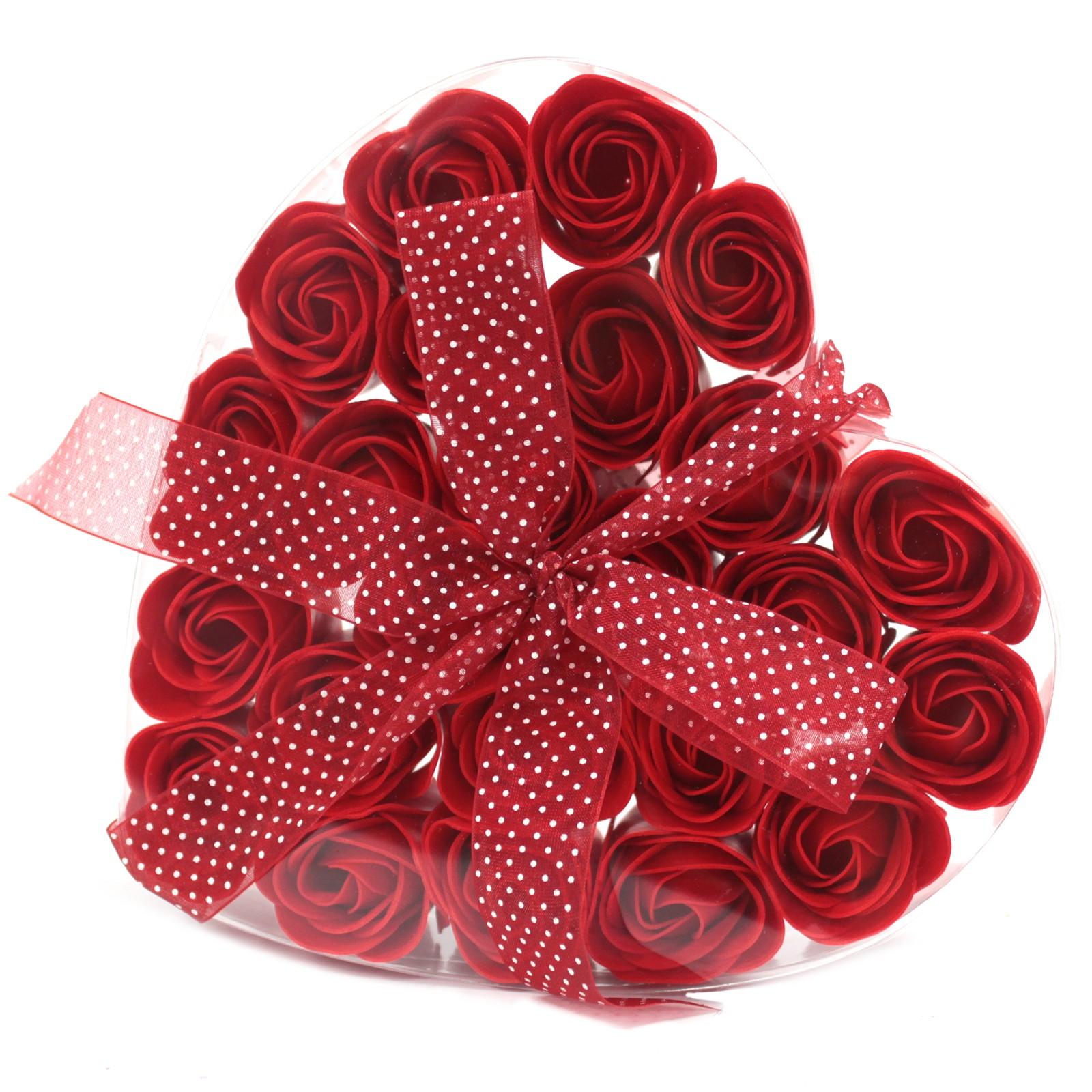 Set of 24 Soap Flower Heart Box Red Roses