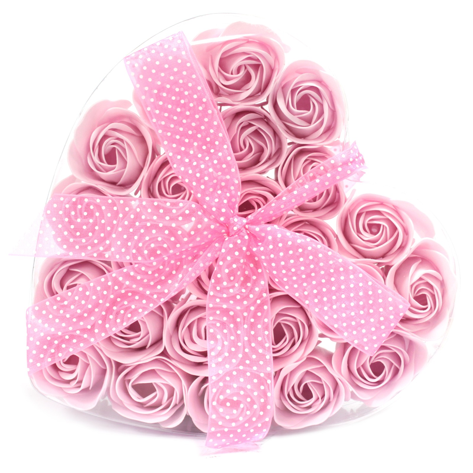 Set of 24 Soap Flower Heart Box Pink Roses